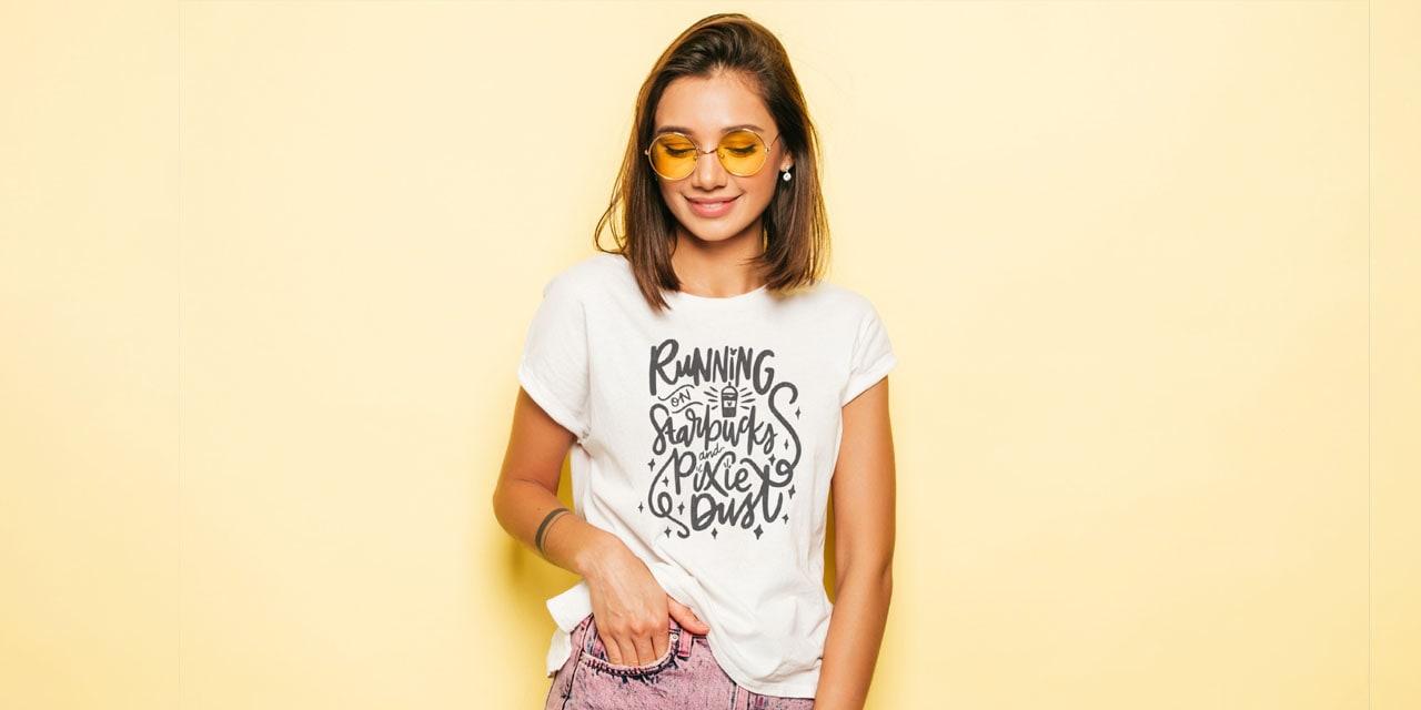 Female modeling a coffee shirt